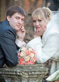 Groom and bride in autumn wedding day Stock Photography