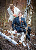 Groom and bride in autumn wedding day Royalty Free Stock Photography