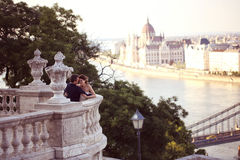 Groom and bride on a balcony in Budapest Royalty Free Stock Images