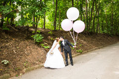 Groom  and bride  with balloons Stock Photos