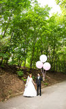 Groom  and bride  with balloons Royalty Free Stock Images