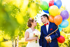 Groom  and bride  with balloons Royalty Free Stock Photo