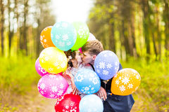 Groom  and bride  with balloons  outdoor Stock Photos