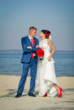The groom and the bride on a beach Royalty Free Stock Photo