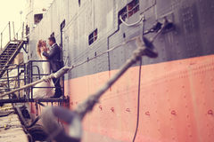 Groom and bride on a big ship Royalty Free Stock Photo