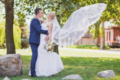 Groom, bride, bridal veil flying Stock Photography