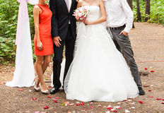 Groom and bride with bridesmaids Royalty Free Stock Photography