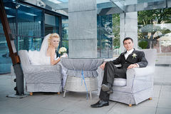 Groom  and the bride in cafe shop Royalty Free Stock Photo