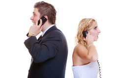 Groom and bride calling to each other Royalty Free Stock Images