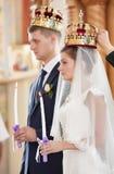 Wedding ceremony in church Royalty Free Stock Photos