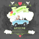 Groom and bride car black Royalty Free Stock Images