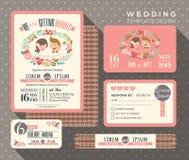 Groom and bride cartoon retro wedding invitation set design Template Stock Image