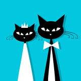 Groom and bride, cat's wedding for your design Stock Photos