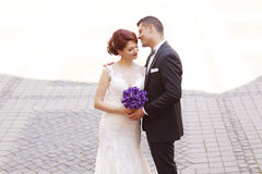 Groom and bride in the city Royalty Free Stock Image