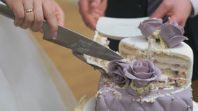 Groom and bride cut wedding cake at banquet stock video
