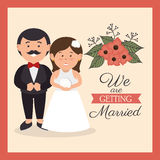 Groom and bride cute weddign card design graphic Stock Images