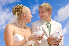 Groom and bride with dovs Stock Image
