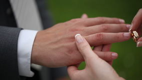 The groom and the bride dress each other wedding rings. Close up macro lens stock video footage
