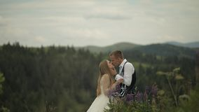 Groom with bride drink champagne on a mountain hills. Wedding couple. Family stock video footage