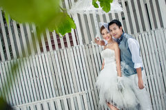 Groom and bride embrace Royalty Free Stock Photo