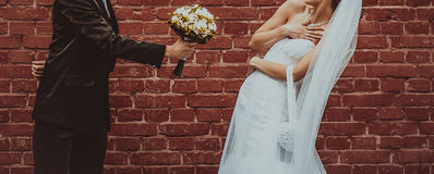 Groom and Bride embracing next to red brick wall. Stock Photography