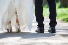 Groom and bride. Feet of groom and bride Royalty Free Stock Photography