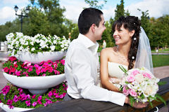 Groom and bride with flowers Stock Images