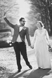 Groom and bride in frame. Royalty Free Stock Photos