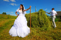 Wedding.Honeymoon in the village Royalty Free Stock Photography