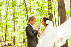 Groom and Bride have fun together  in a park Royalty Free Stock Photography