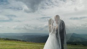 Groom with bride having fun on a mountain hills. Wedding couple. Happy family stock video footage