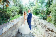 Groom and bride having fun in nature Royalty Free Stock Images