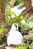 Groom and bride having fun in a tropical jungle under the palm tree. Wedding concept. Stock Photos