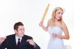Groom and bride having quarrel argument stock photos