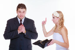 Groom and bride having quarrel argument Stock Photography