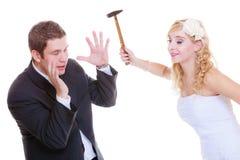 Groom and bride having quarrel argument Stock Images