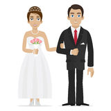Groom and bride hold hands Royalty Free Stock Image