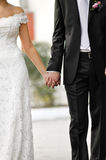 Groom and bride holding by hands Royalty Free Stock Images