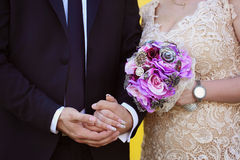 Groom and bride holding hands Stock Images