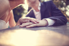 Groom and bride holding hands Stock Photos