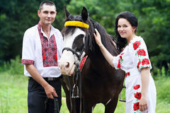 Groom and bride with a horse Royalty Free Stock Photo