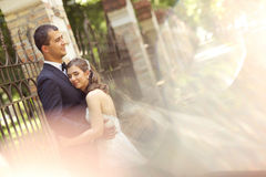 Groom and bride hugging each othere Royalty Free Stock Image
