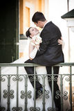 Groom and bride hugging Royalty Free Stock Photos