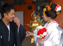 Groom and bride at Kasuga Taisha shrine, Nara, Japan Royalty Free Stock Photos