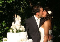 Groom and bride kissing Royalty Free Stock Images