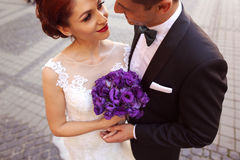 Groom and bride kissing in the city Stock Images