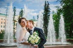 The groom and the bride kissing near a fountain Stock Photos