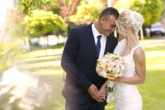 Groom and bride kissing in the park Royalty Free Stock Images