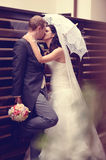 Groom and bride kissing  on their wedding day Royalty Free Stock Photo