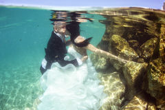 Groom and bride kissing underwater Stock Images